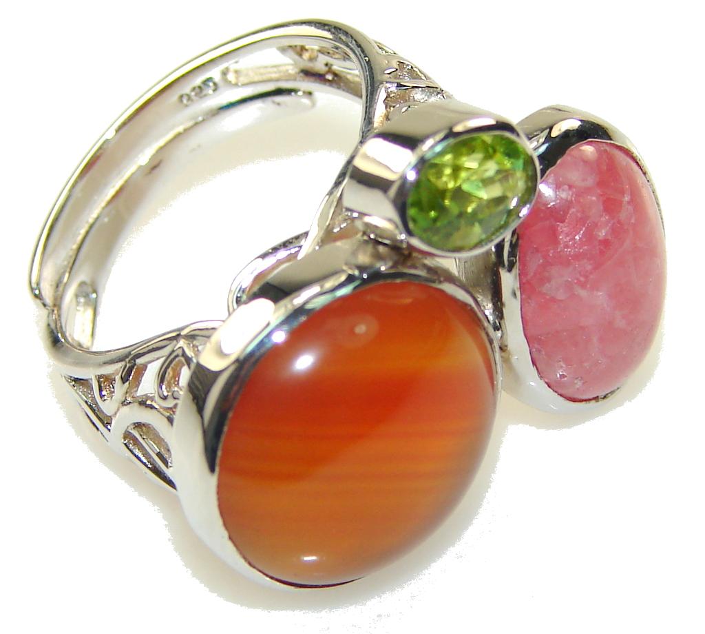 Precious Orange Agate Sterling Silver ring s. 7 - Adjustable