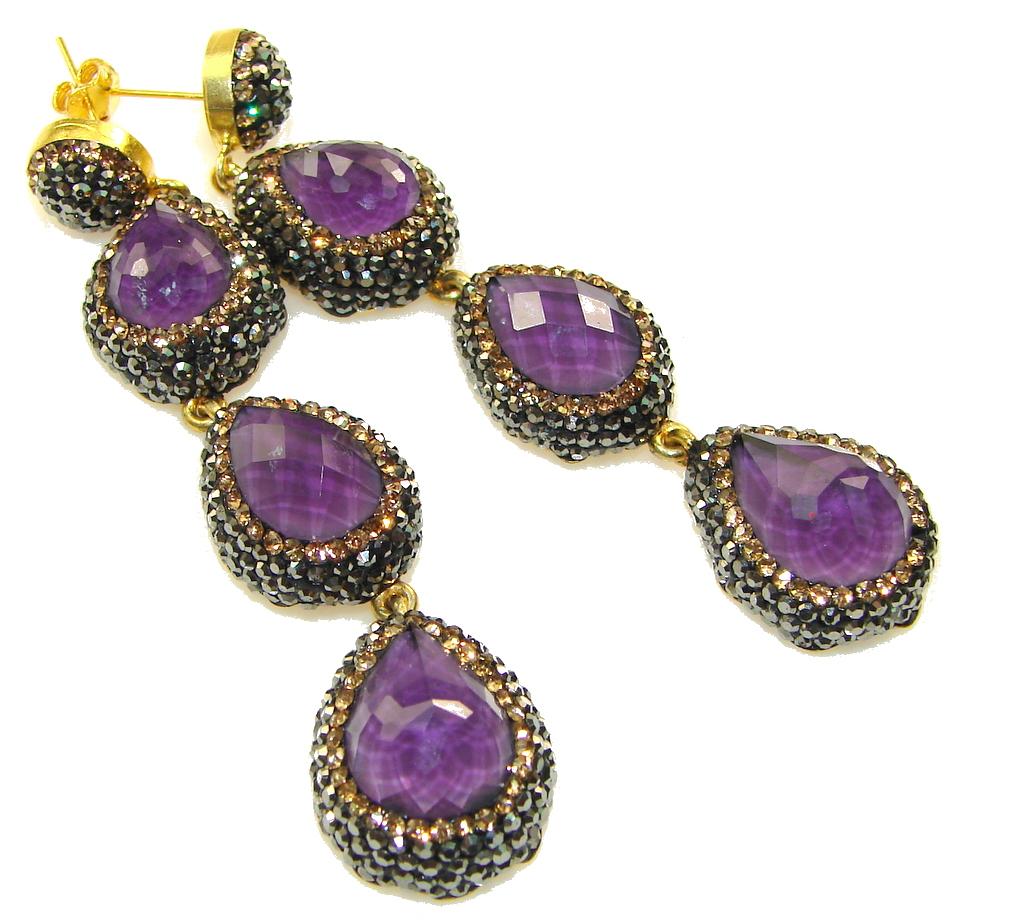 Love Power!! Purple Amethyst Sterling Silver earrings / Long