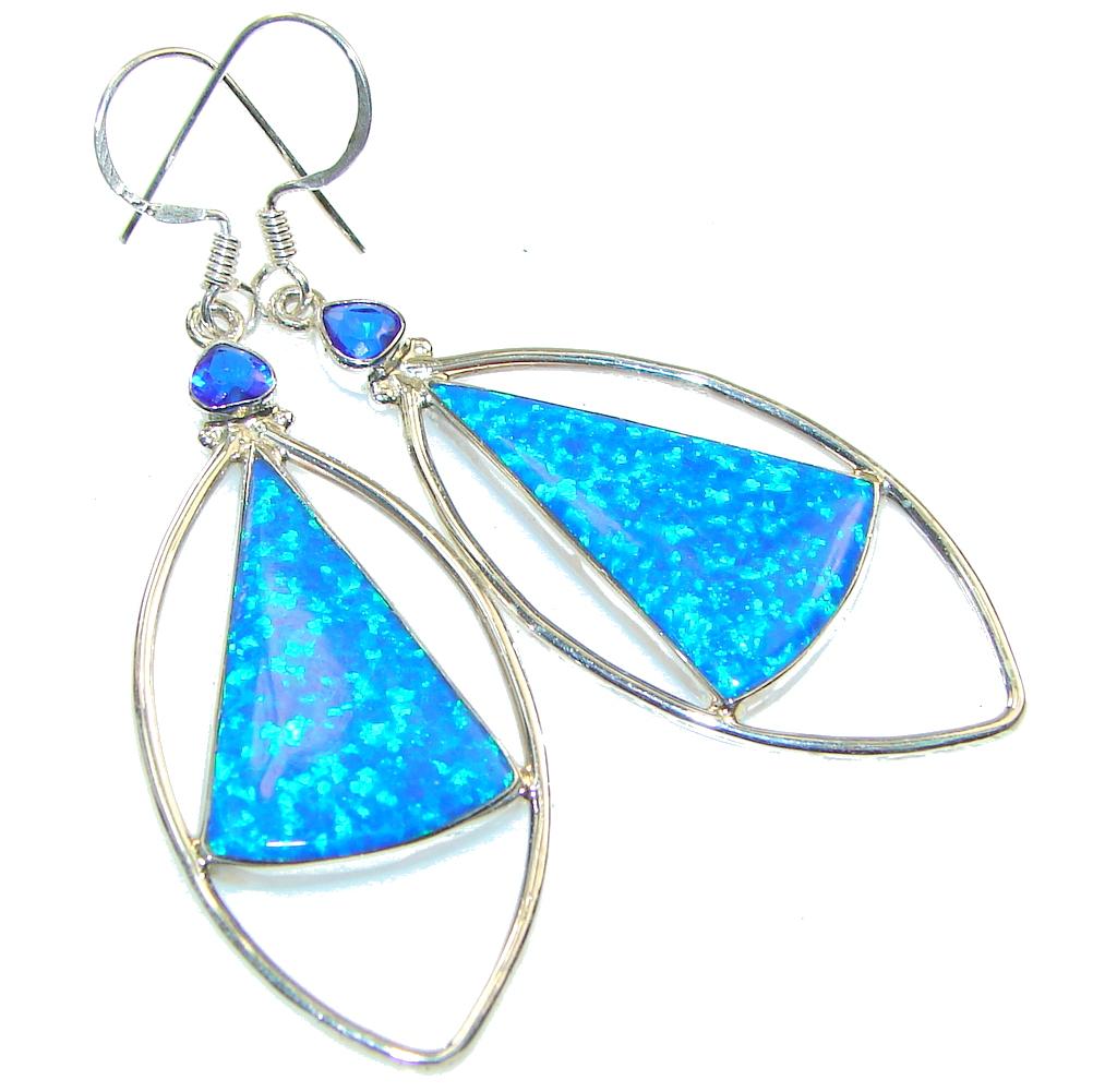 Beautiful Blue Fire Opalite Sterling Silver earrings