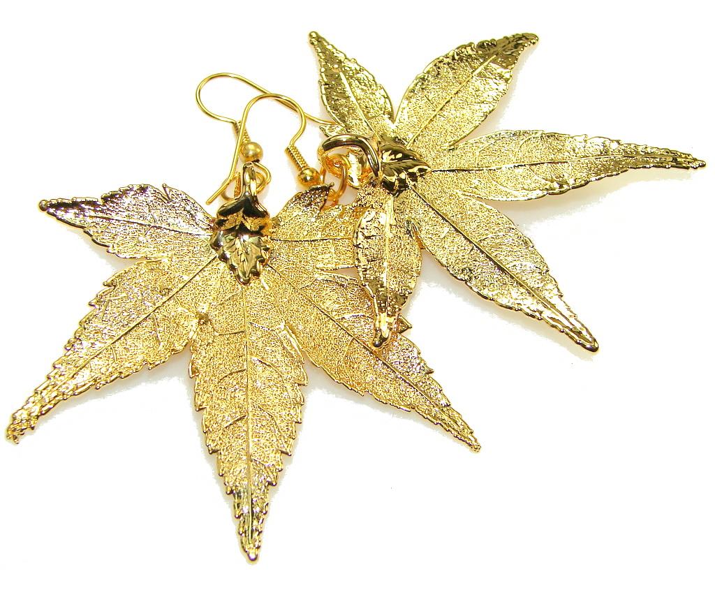 Big! Secret! Gold Plated Leaf Sterling Silver earrings
