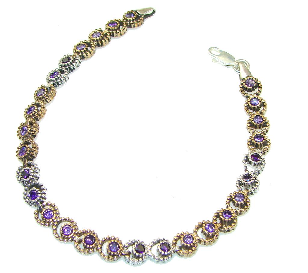 Delicate Purple Amethyst, Two Tones Sterling Silver Bracelet