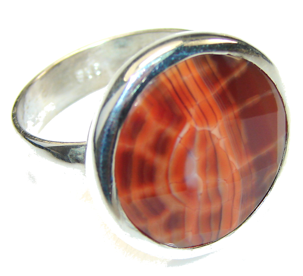 Simple! Mexican Fire Agate Sterling Silver Ring s. 11