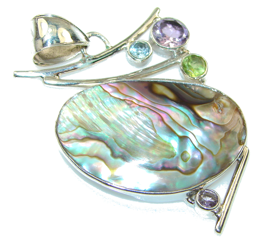Fantastic Rainbow Abalone Sterling Silver Pendant