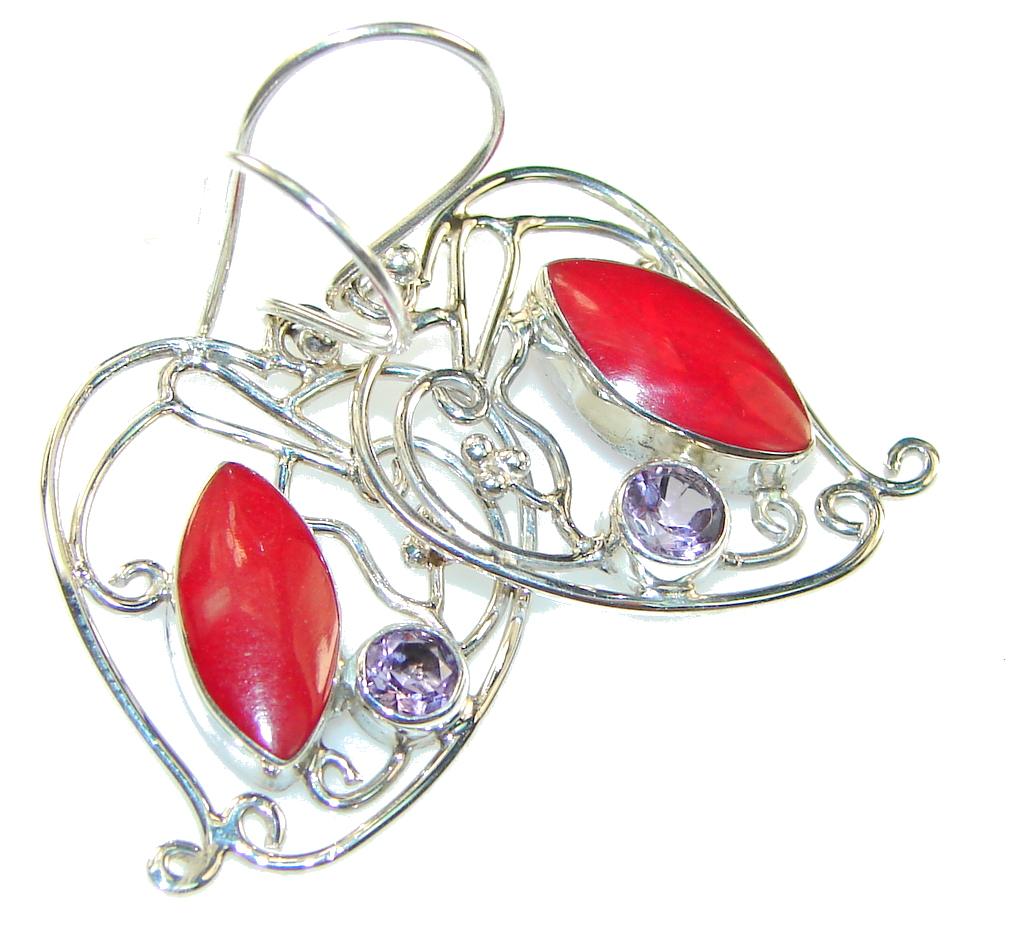 Delicate Red Coral Sterling Silver earrings