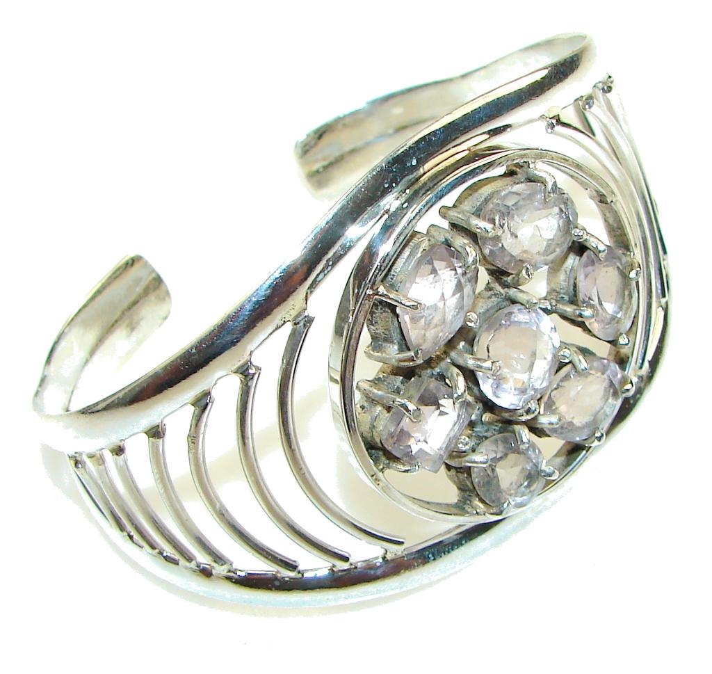 Gorgeous Light Pink Amethyst Sterling Silver Bracelet / Cuff