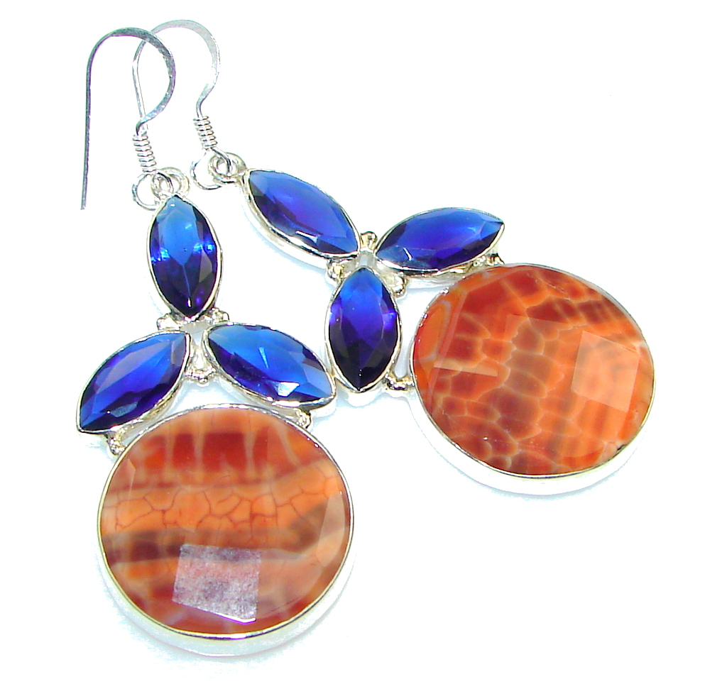Excellent! Mexican Fire Agate Sterling Silver earrings