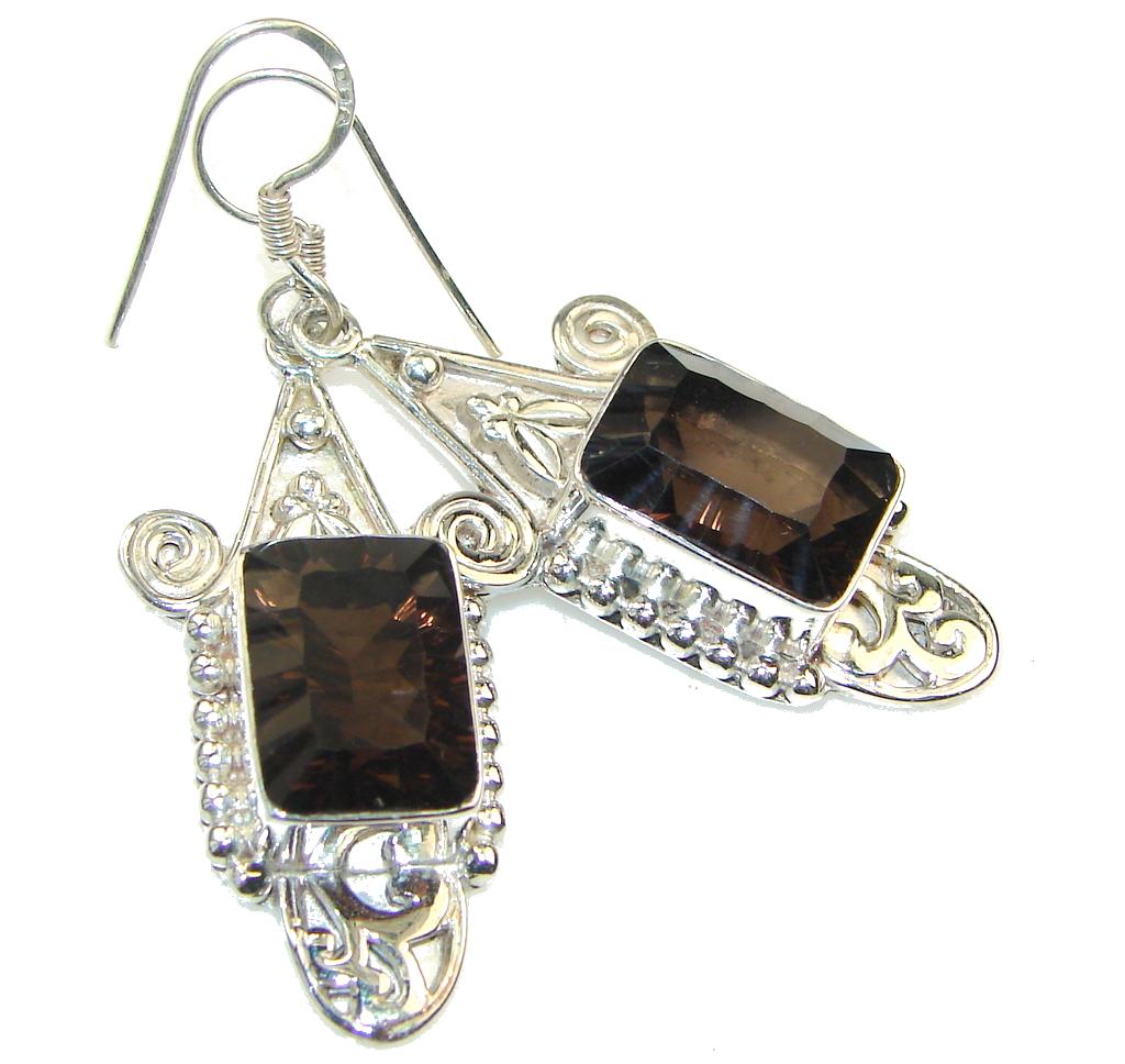 Grown Jewel!! Brown Smoky Topaz Sterling Silver earrings