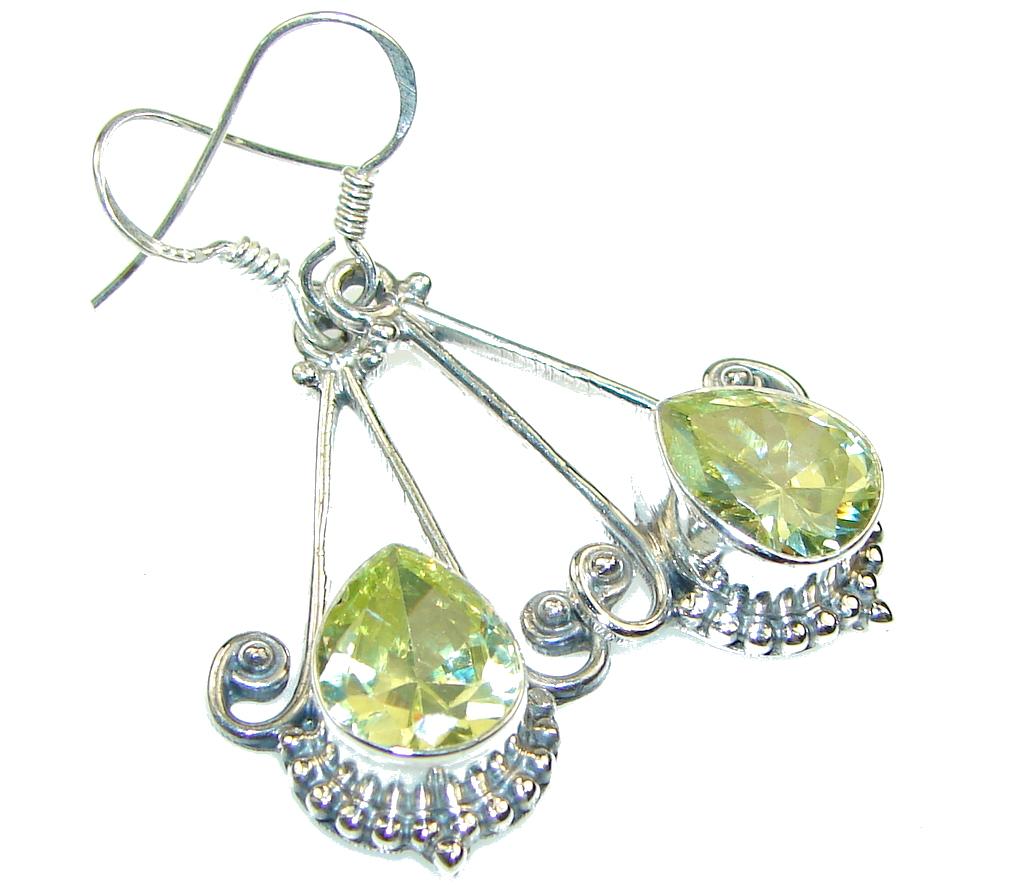 Delicate!! Yellow Citrine Quartz Silver Sterling earrings