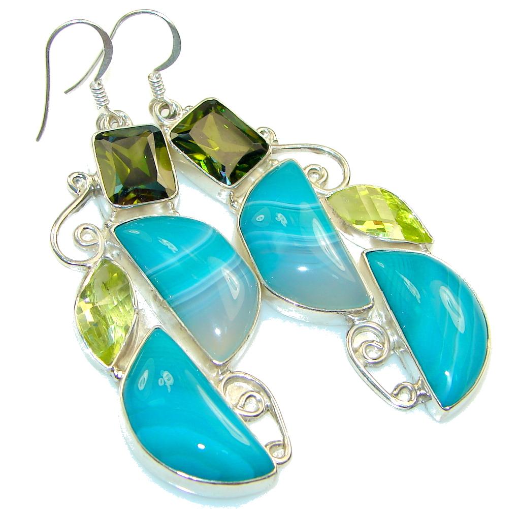 Fantastic Blue Botswana Agate Sterling Silver earrings
