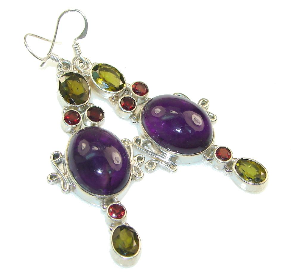 Excellent!! Purple Amethyst Sterling Silver earrings