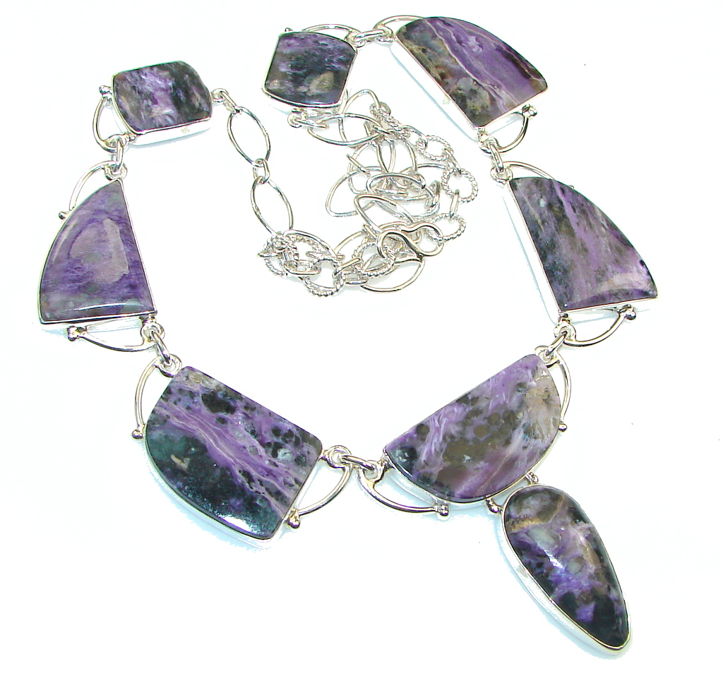 Natural Beauty!! Siberian Purple Charoite Sterling Silver Necklace