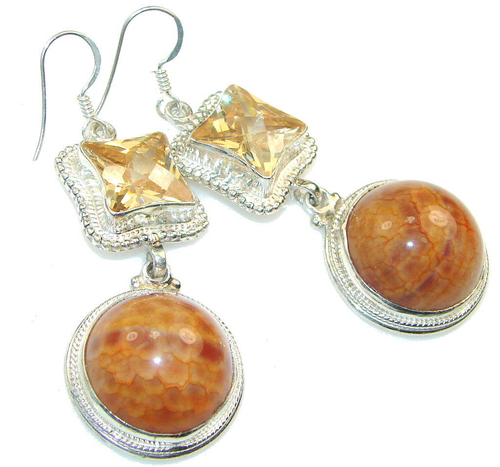 Big! Amazing Mexican Fire Agate Sterling Silver earrings