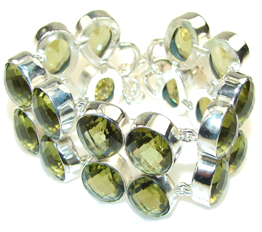 Created Green Lime Citrine Sterling Silver Bracelet