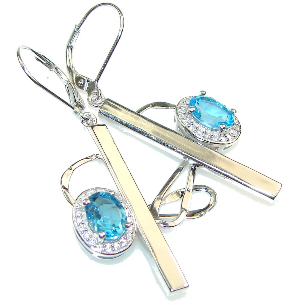 Gently! Swiss Blue Topaz Sterling Silver earrings
