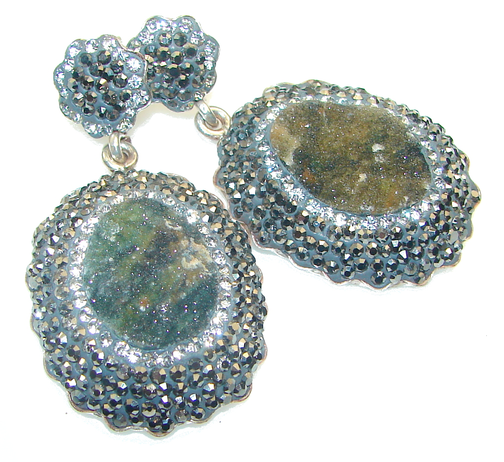 Fashion Design!! Green Druzy Sterling Silver Earrings