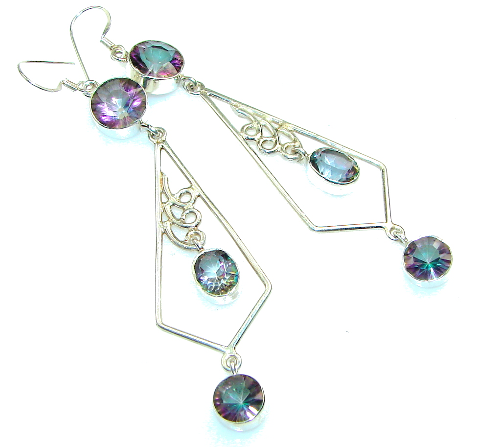Excellent!! Rainbow Magic Topaz Sterling Silver earrings / Long