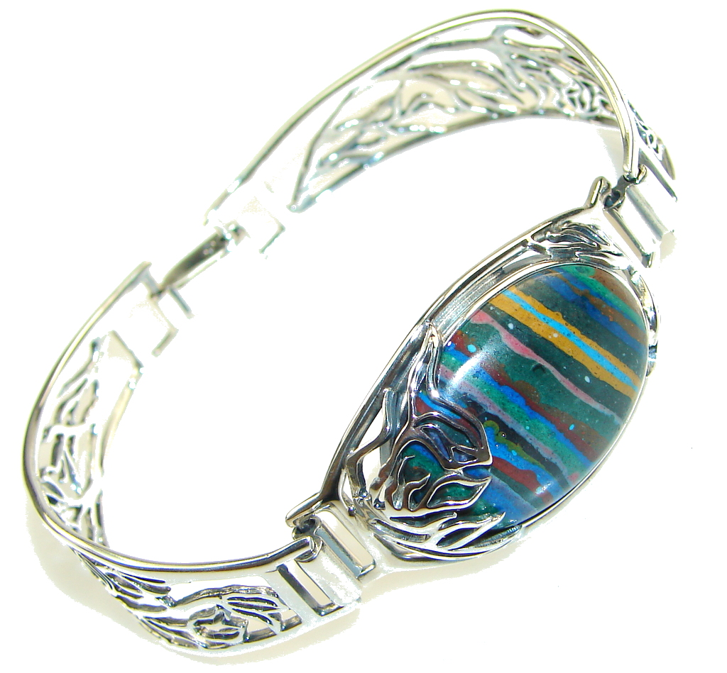 Amazing Design!! Rainbow Calsilica Sterling Silver Bracelet