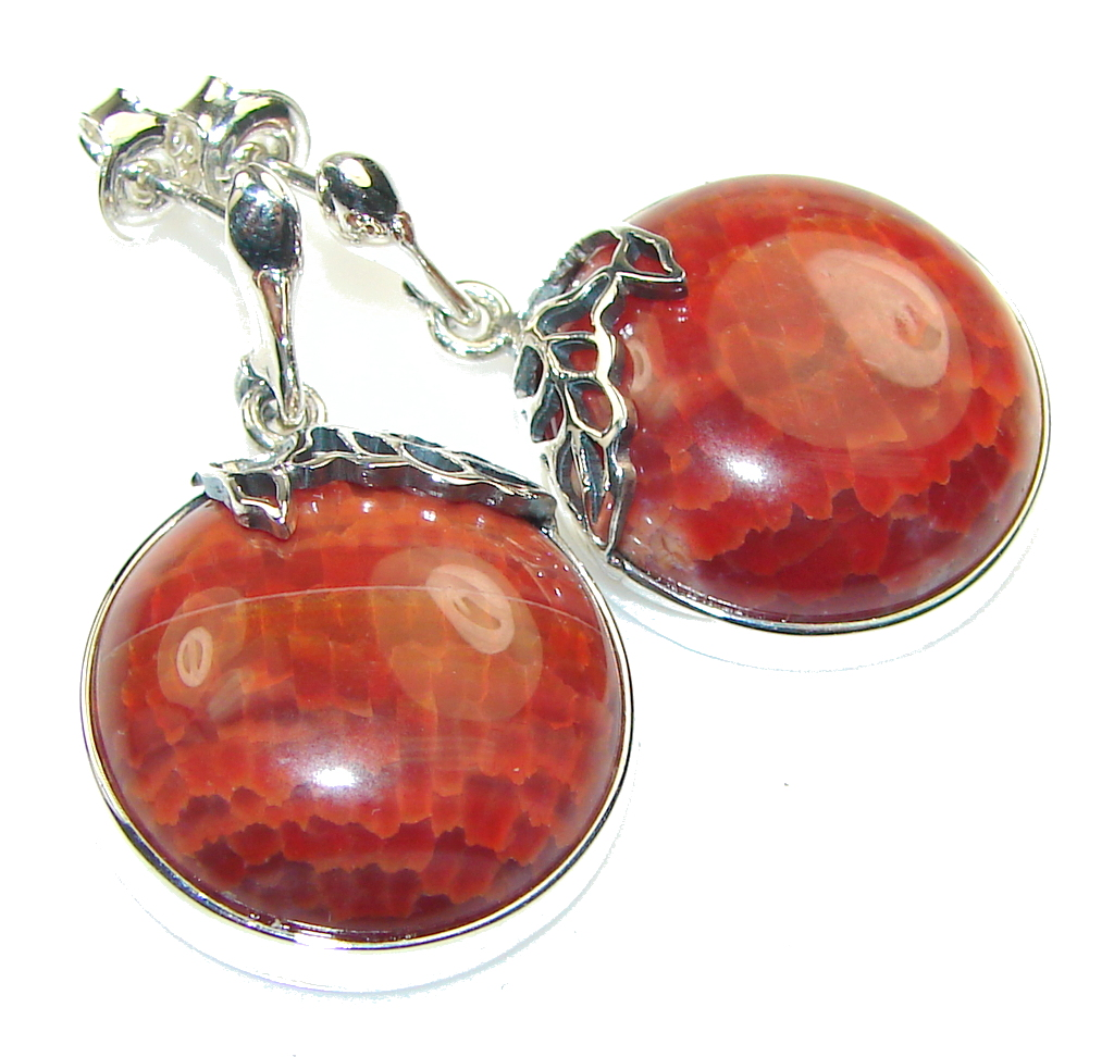Amazing Mexican Fire Agate Sterling Silver earrings