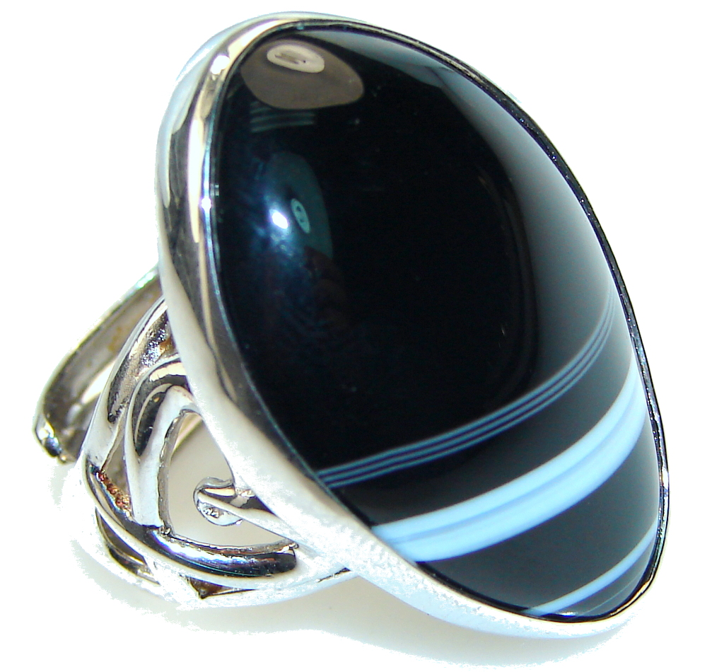 Big! Black Botswana Agate Sterling Silver Ring s. 8- up