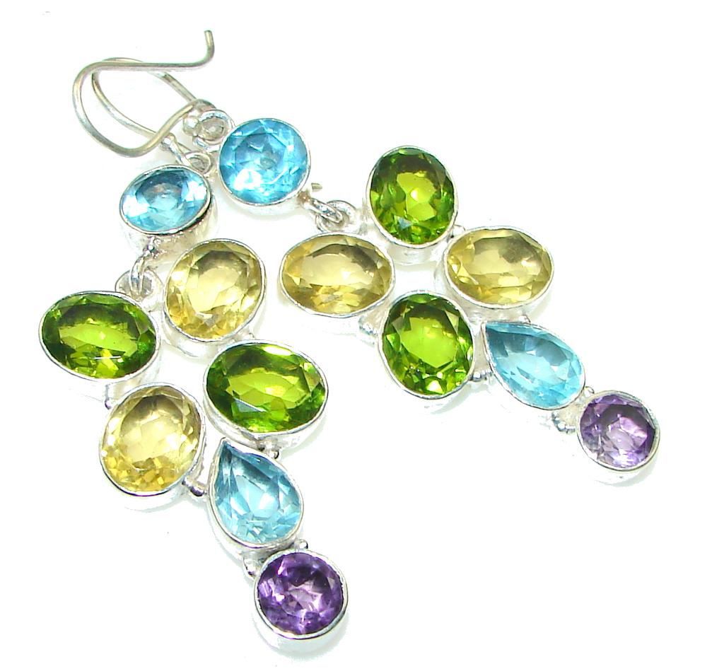 Exclusive!! Swiss Blue Topaz Sterling Silver earrings
