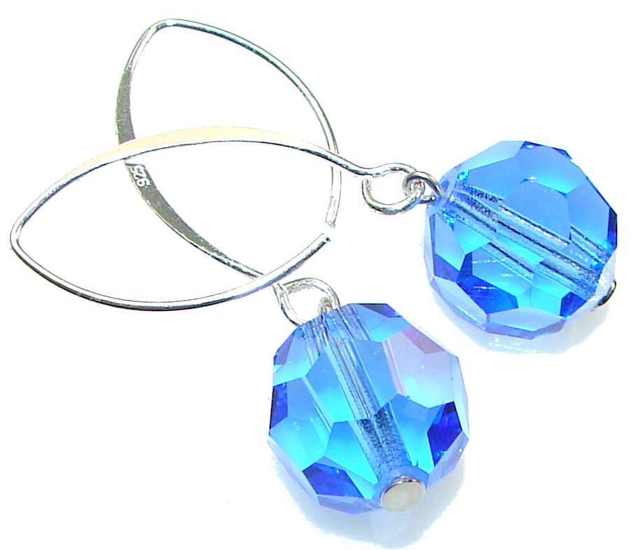 Fashion!! Blue Quartz Sterling Silver earrings
