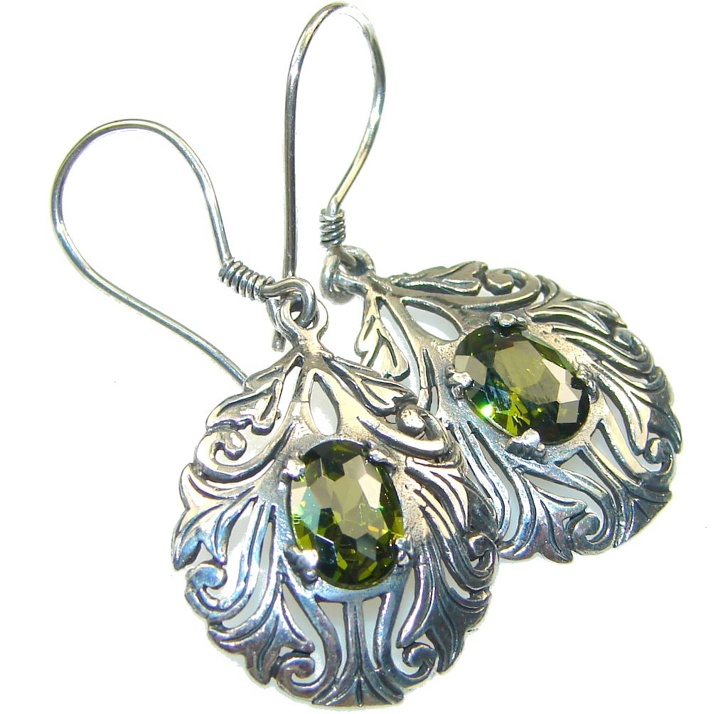 Created Green Chrome Diopside Quartz Sterling Silver earrings