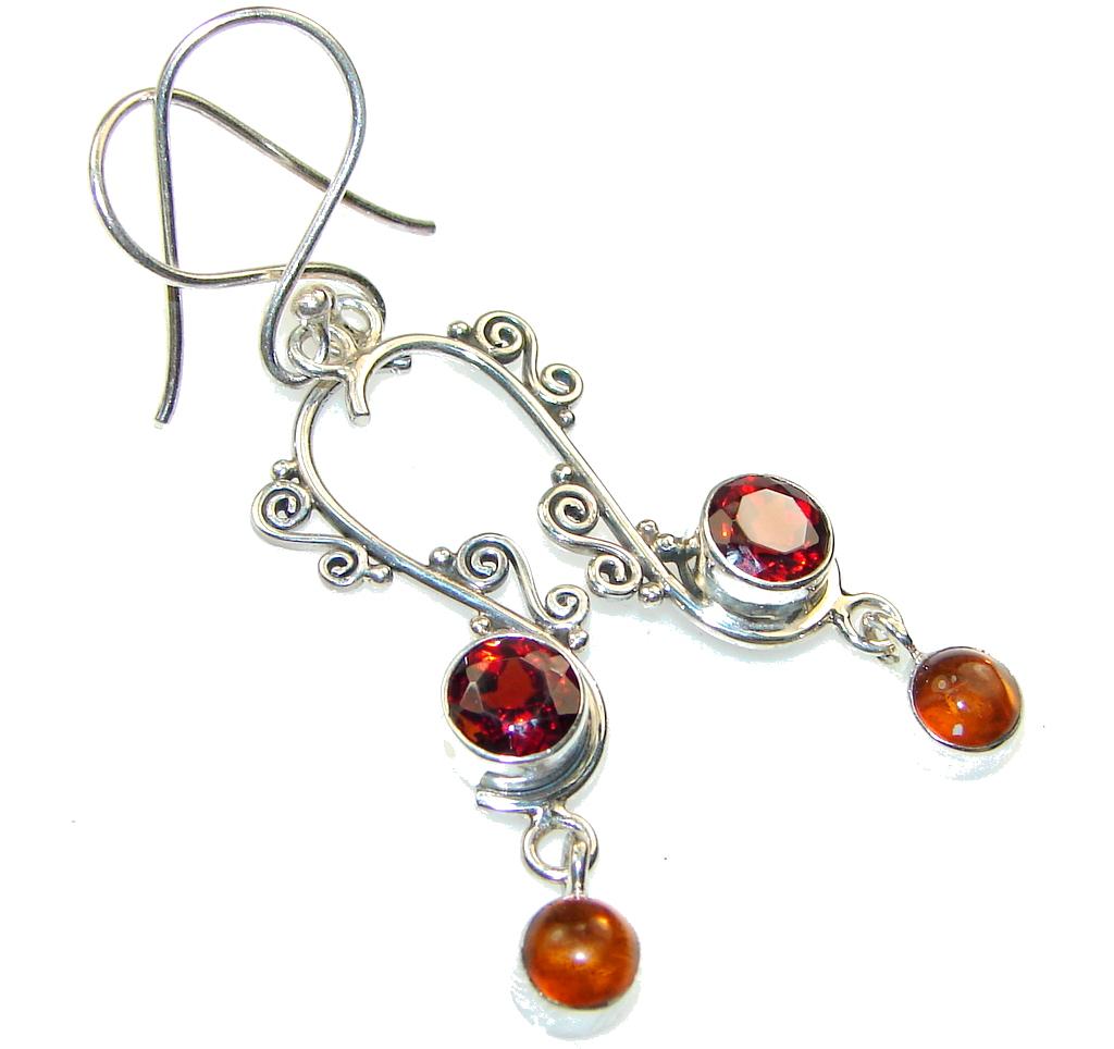 Delicate!! Garnet Quartz Sterling Silver earrings