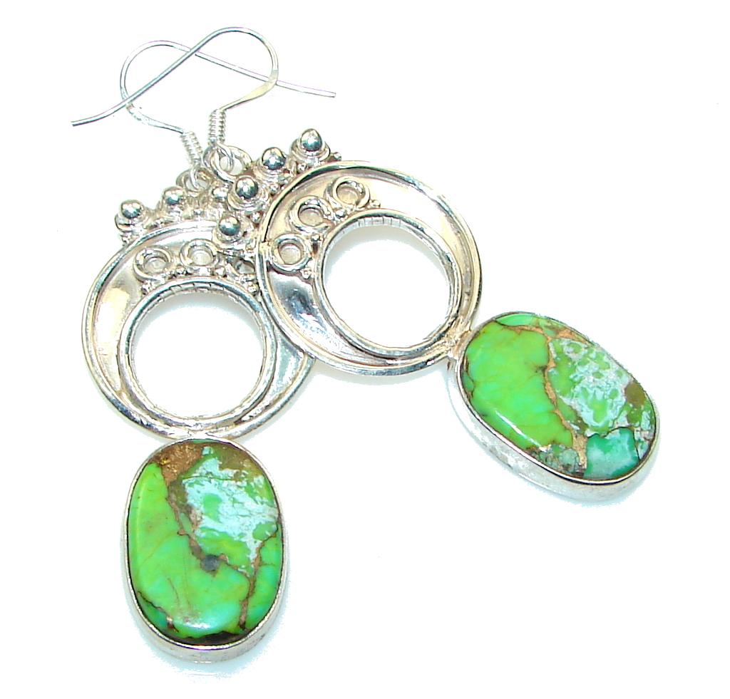Fantastic!! Green Copper Turquoise Sterling Silver earrings