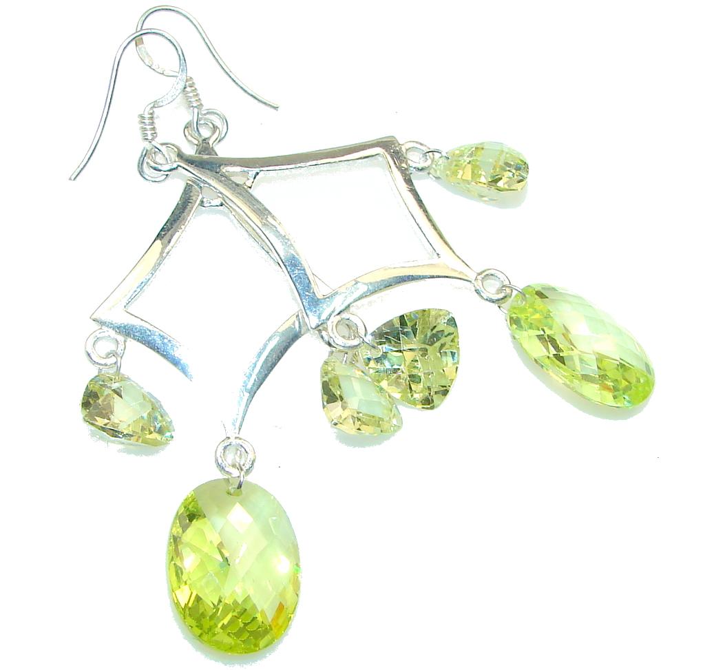 Big! Secret Created Yellow Crystal Silver Sterling earrings