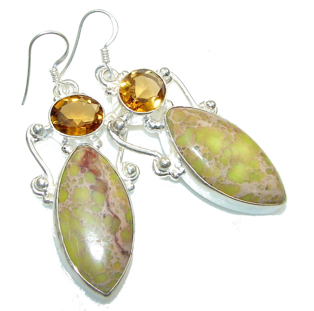 Excellent!! Green Sea Sediment Jasper Sterling Silver earrings