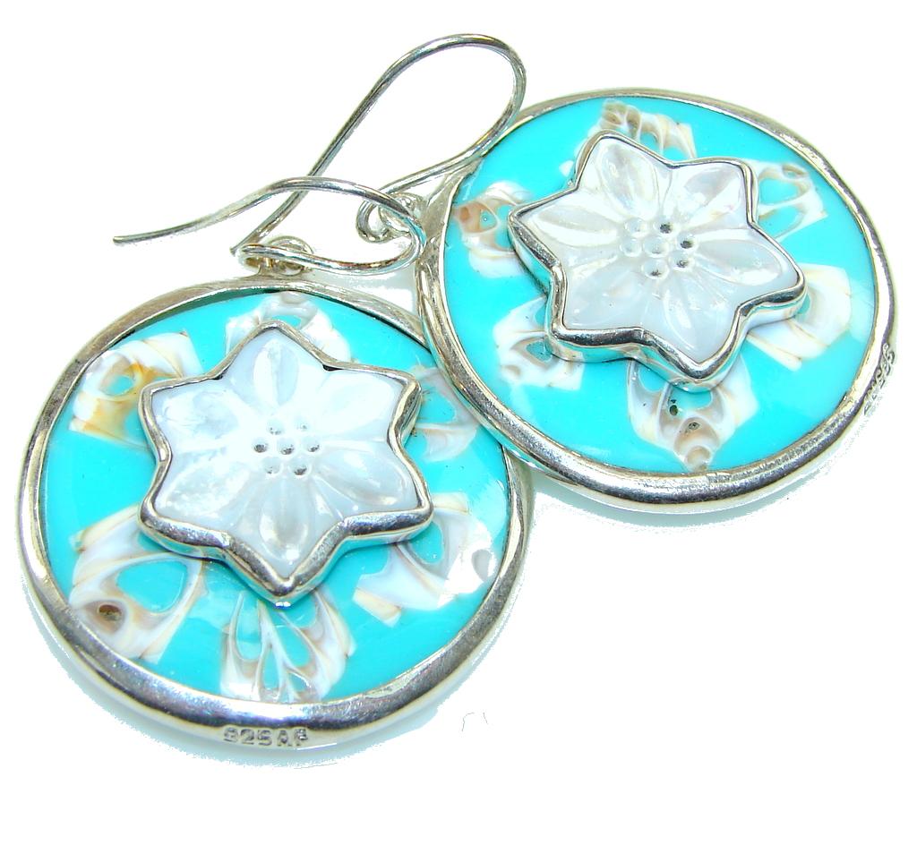 Fabulous! Blue Ocean Shell Sterling Silver earrings