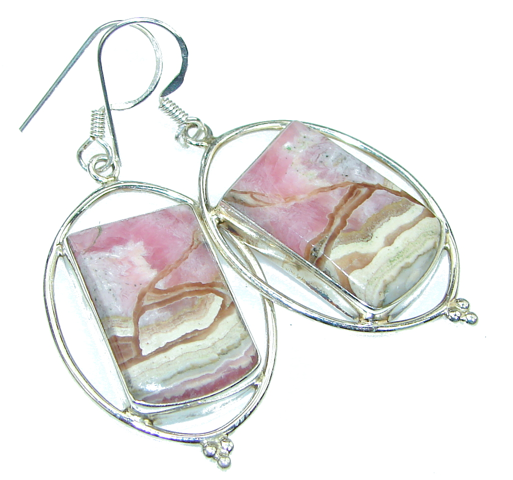 Fantastic Pink Rhodochrosite Sterling Silver earrings
