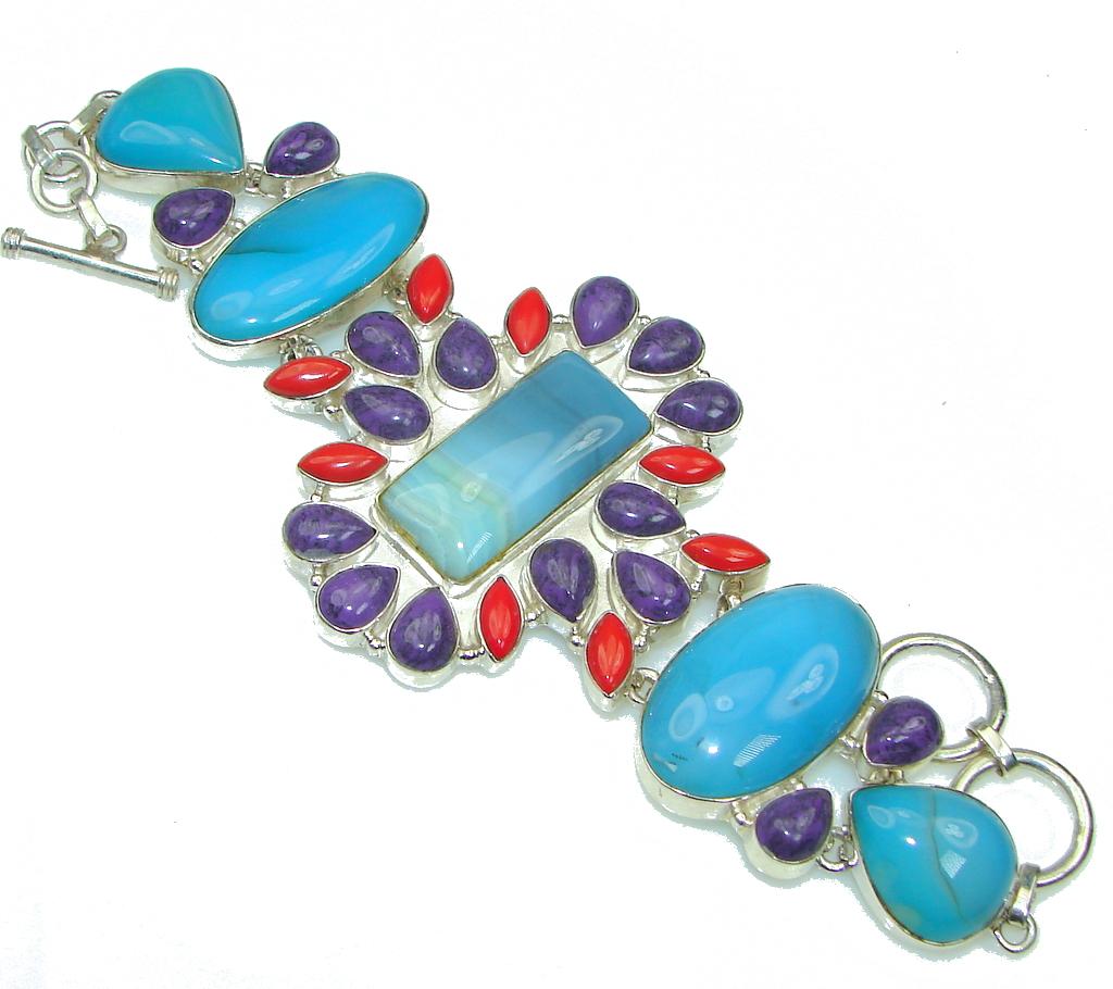 Fantastic Blue Ocean Agate Sterling Silver Bracelet