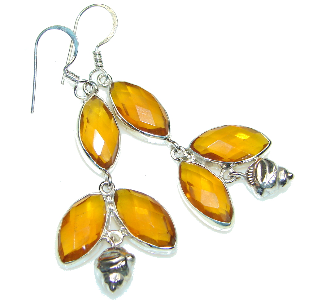 Excellent! Created Golden Topaz Sterling Silver Earrings