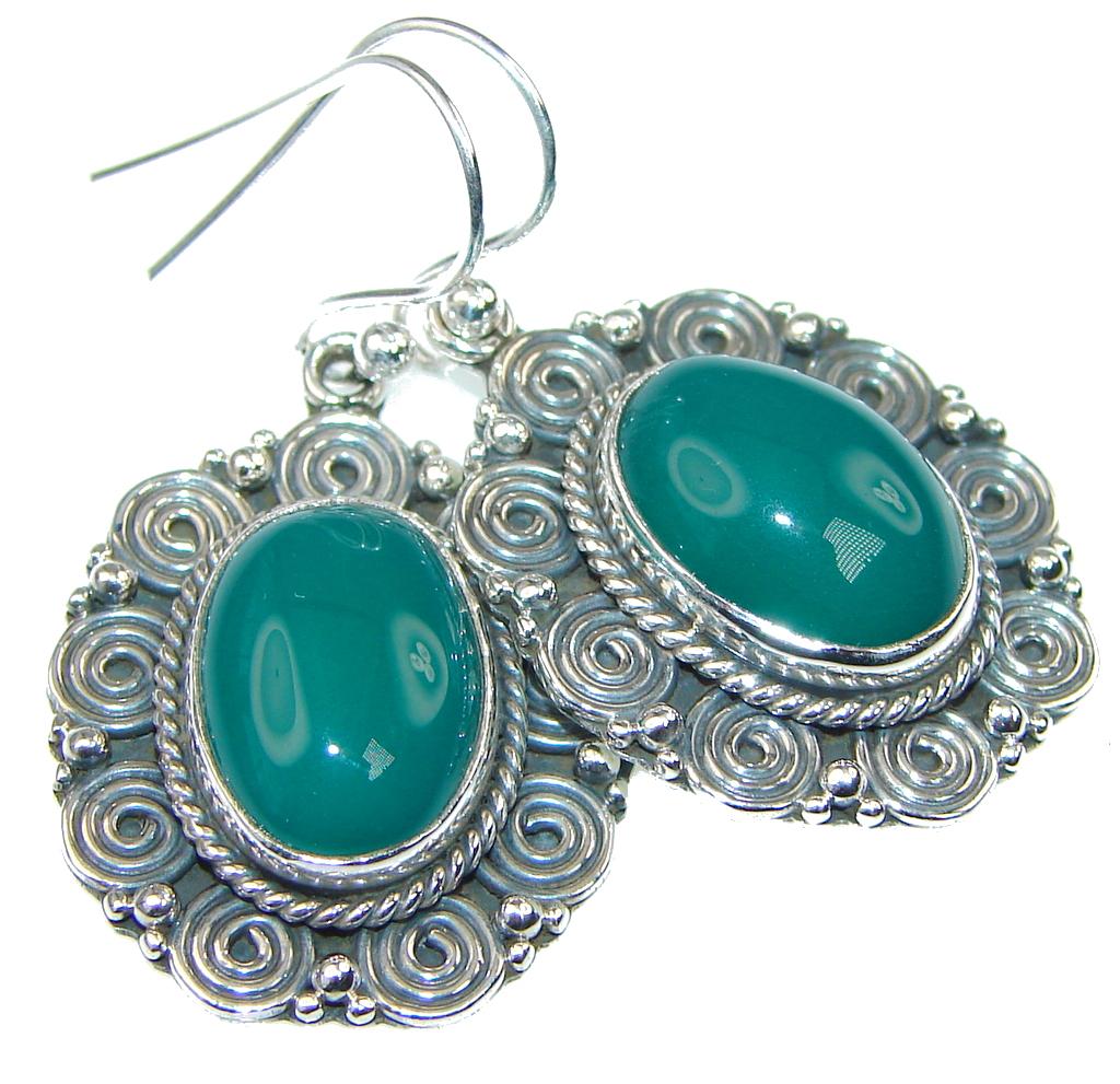 Amazing Green Agate Sterling Silver earrings