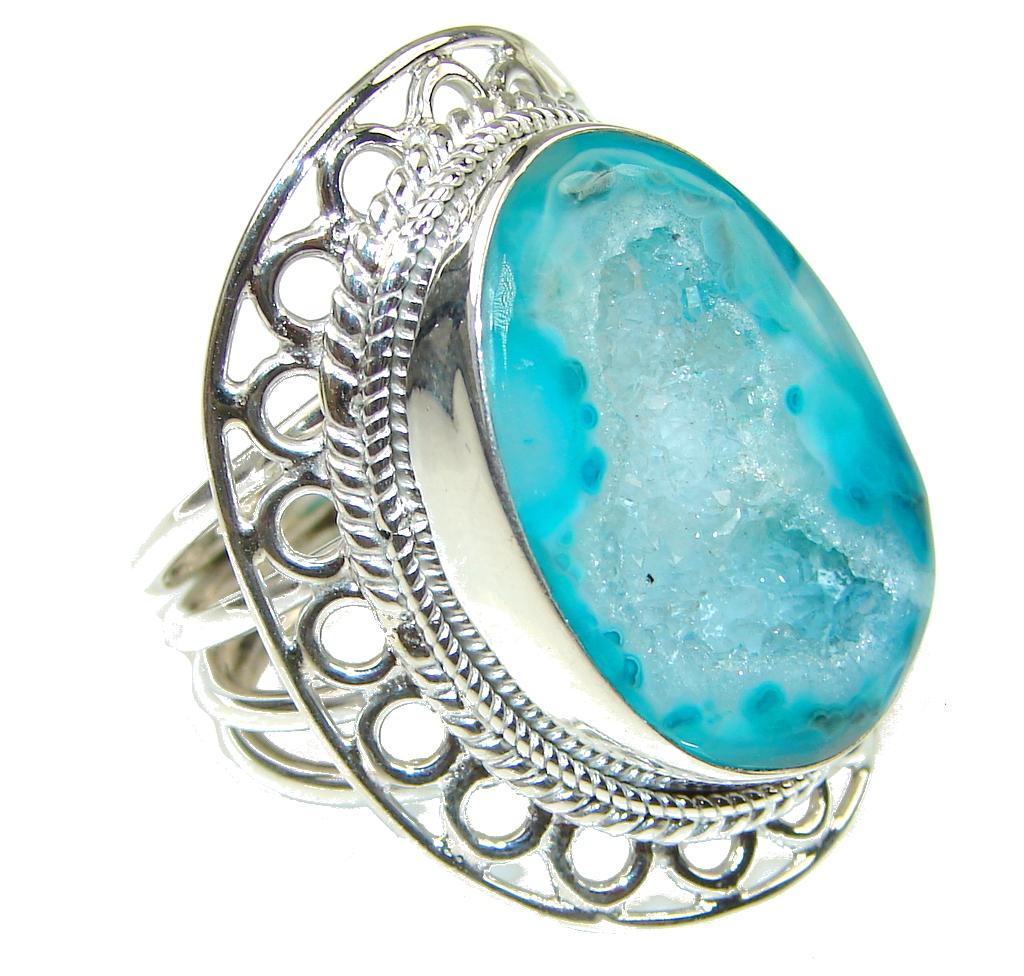 Big! Open Ocean! Agate Druzy Sterling Silver Ring s. 9 1/4