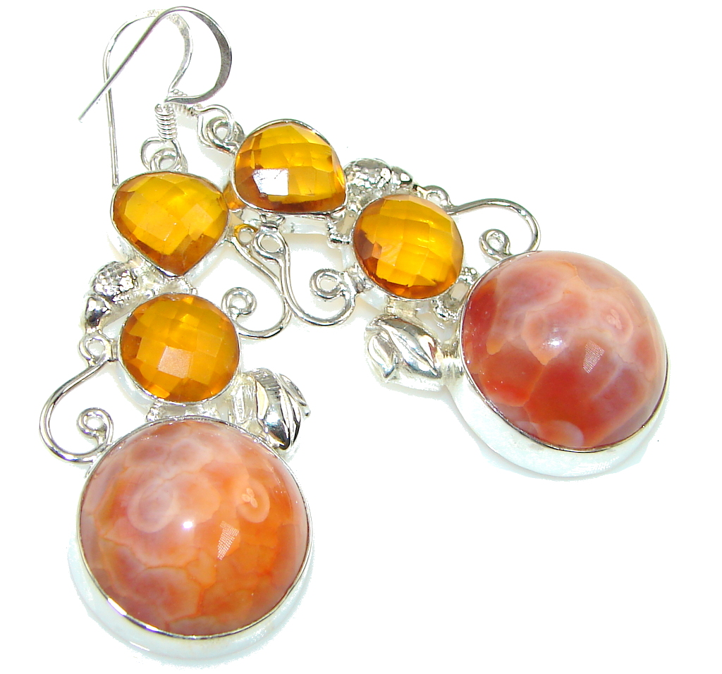 Instant Classic! Orange Mexican Fire Agate Sterling Silver earrings