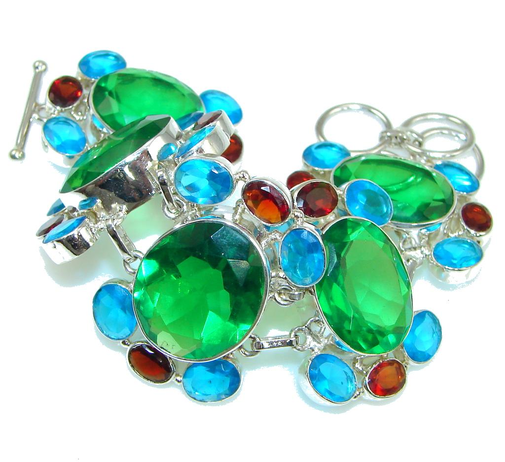 Aura Of Beauty! Created Green Emerald Sterling Silver Bracelet