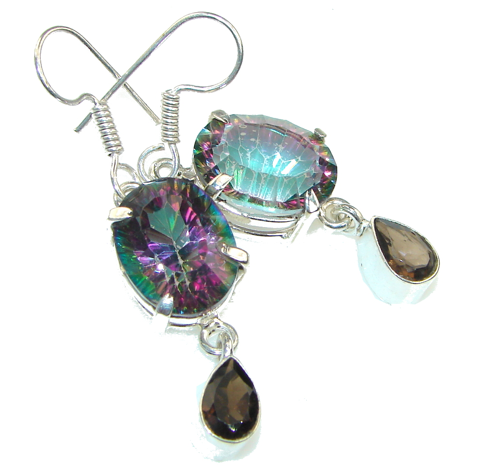Exotic Vacation! Rainbow Magic Topaz Sterling Silver earrings