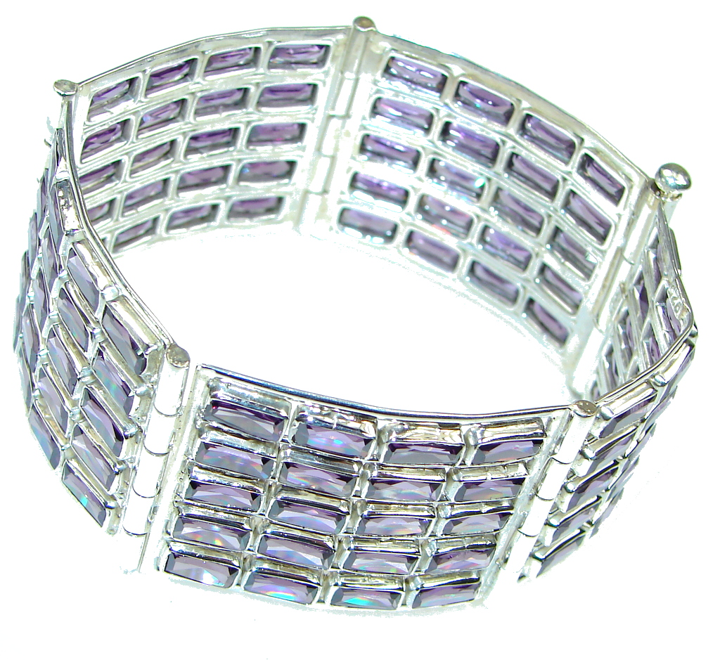 Bali Secret! Created Purple Amethyst Sterling Silver Bracelet