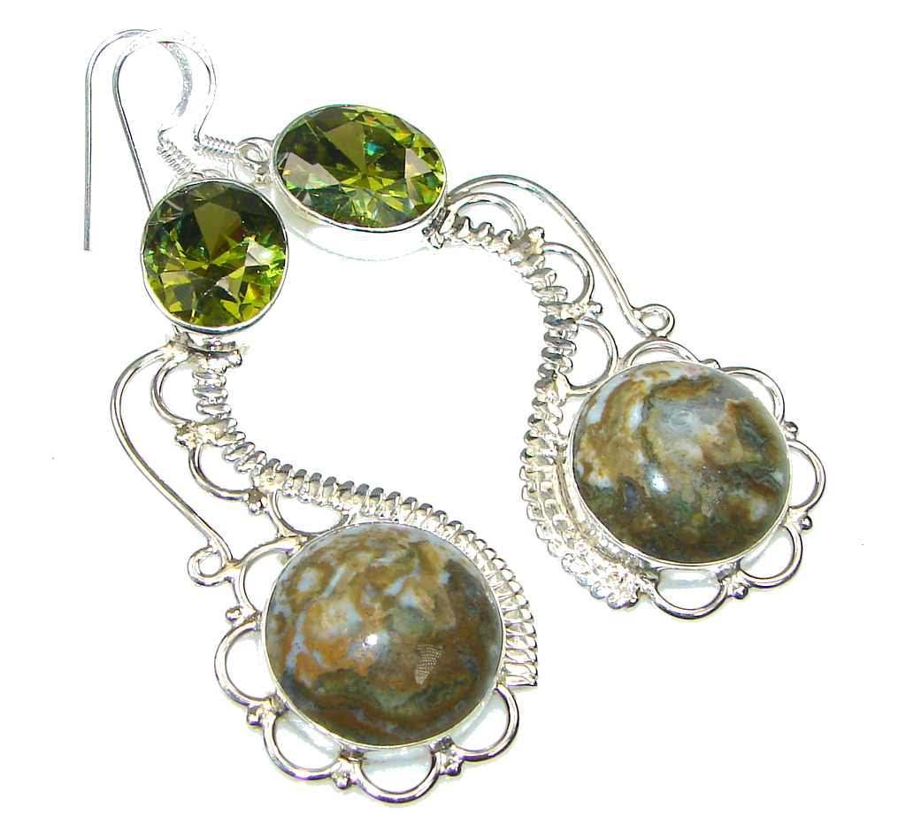 Excellent Green Rainforest Jasper Sterling Silver earrings / Long