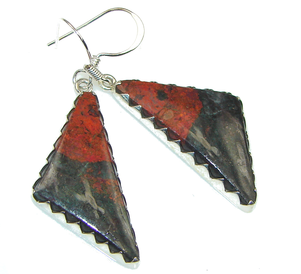 Excellent! Red Sonora Jasper Sterling Silver Earrings