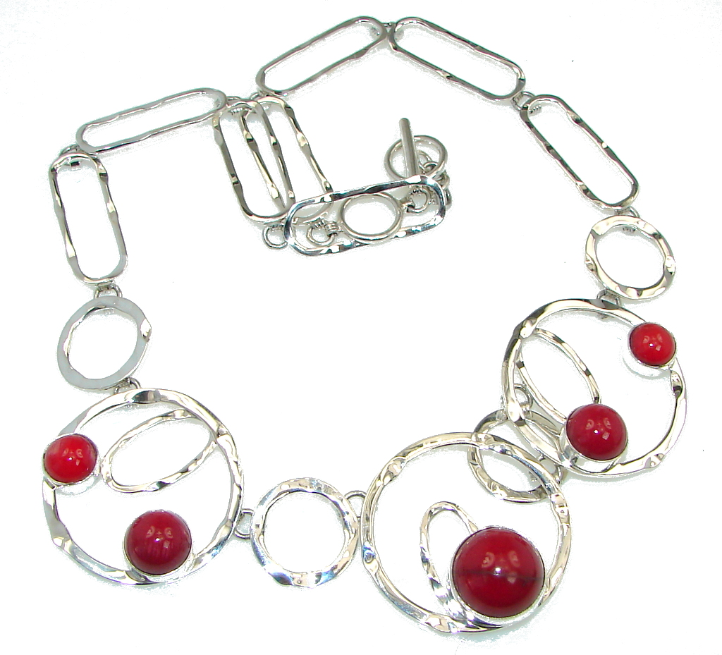 Genuine! Red Fossilized Coral Sterling Silver Necklace