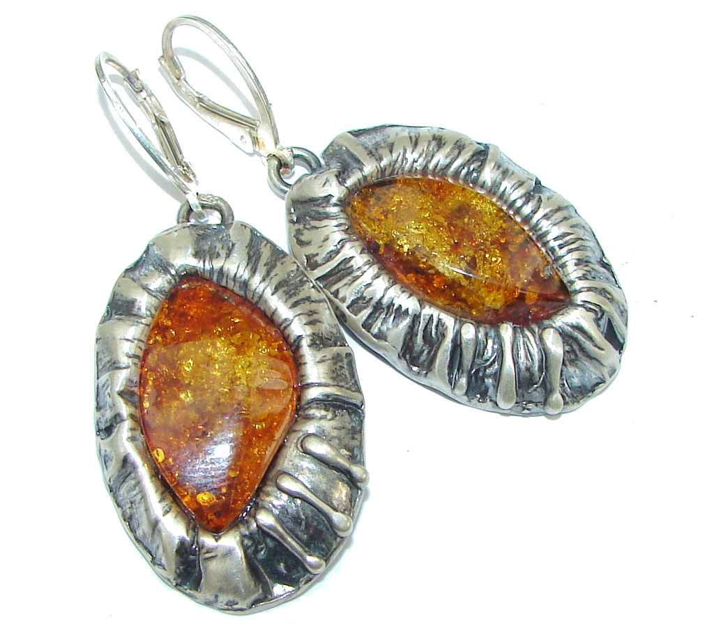 Big! Fashion Design!! Brown Amber Sterling Silver earrings