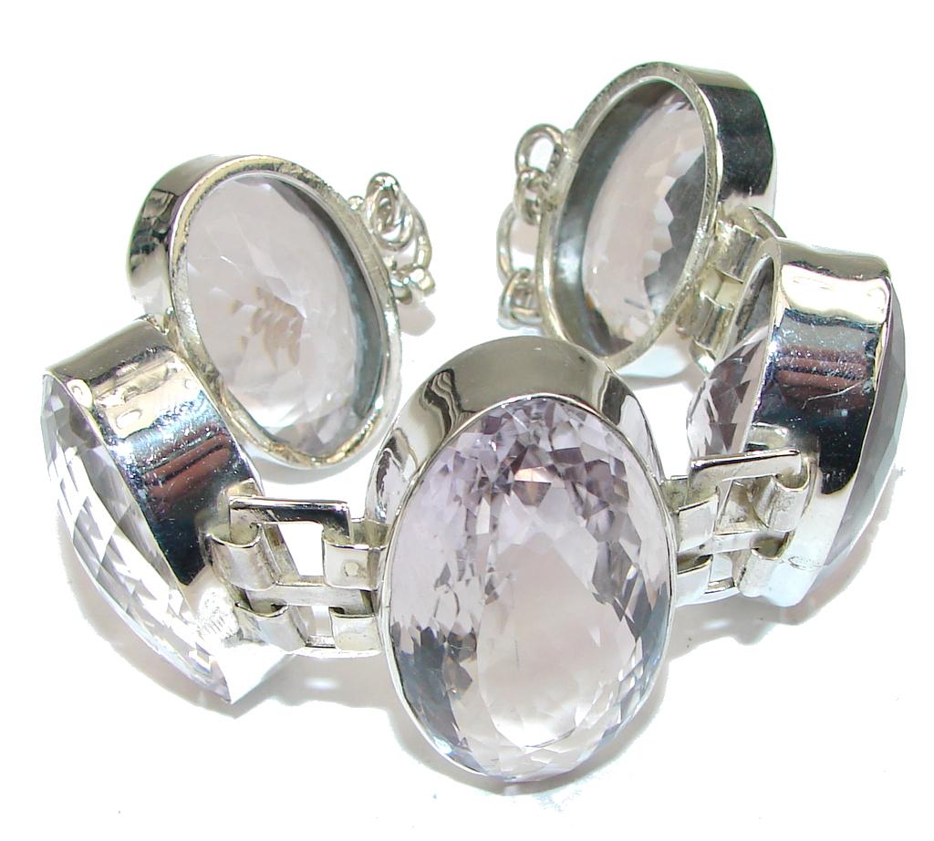 Awesome Design! Created Pink Amethyst Sterling Silver Bracelet