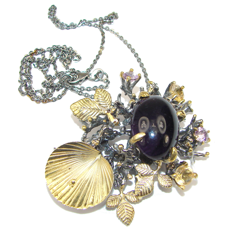 Incredible Design! Natural Amethyst & Citrine, Gold Plated, Rhodium Plated Sterling Silver necklace