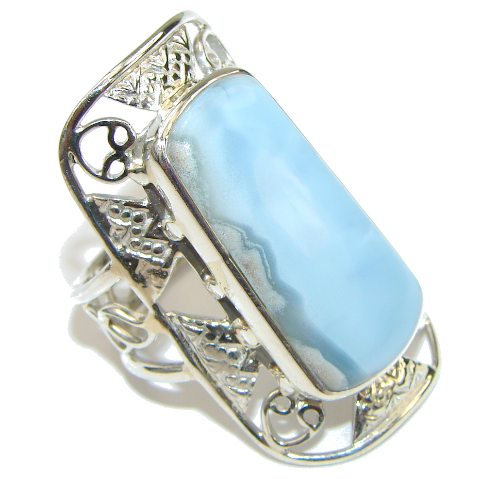 Big! Delicate Blue Lace Agate Sterling Silver Ring s. 10 1/2