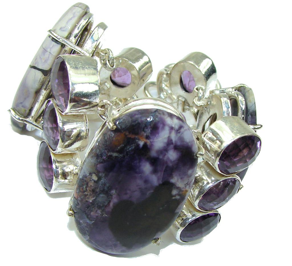 Beautiful! Purple Tiffany Jasper Sterling Silver Bracelet