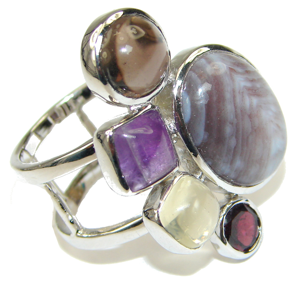 Pale Beauty! Purple Botswana Agate Sterling Silver Ring s. 9