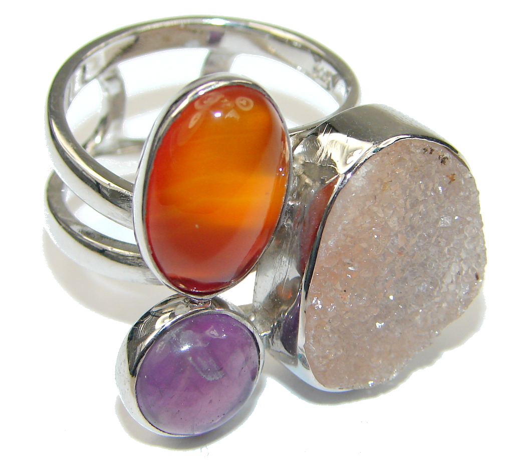 Pale Beauty! Agate Druzy Sterling Silver Ring s. 8 1/4